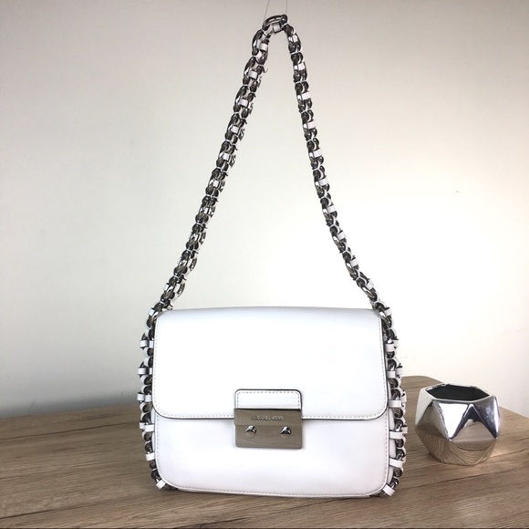 Michael Kors Piper Large Flap Optic White Leather